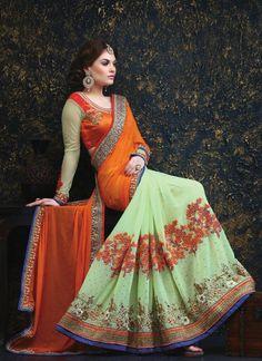 Sensational Orange and Sea Green Half N Half Designer Saree