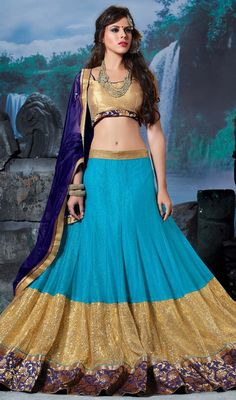 Bedazzle the crowd dressed in this aqua blue and cream color satin lycra choli skirt. The lace and resham work appears to be like chic and great for any celebration. #gorgeouslooklehengacholi #latestghagaracholie #ghagaracholiecollection