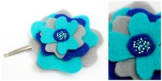 Layered Turquiose, Blue and Grey felt hair flower on slide £2.40