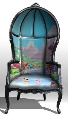 Porter chair, balloon chair, hooded chair, gothic rococo by Jessica Lichtenstein