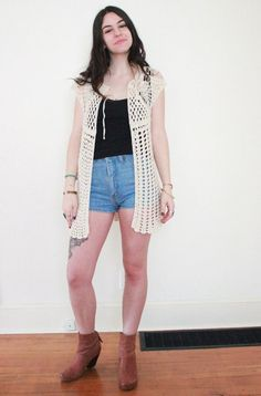 vintage cardigan sweater / crochet vest / by RainOrShineVintage