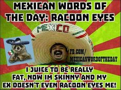 Raccoon Eyes Mexican Word Of Day, Mexican Words, Mexican Quotes, Mexican Humor, Mexican Funny, Phrase Of The Day, Word Of The Day, Minion Jokes, Cinco De Mayo