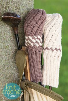 Free Knitting Pattern Download -- This Knit Spiral Rib Golf Club Cover, designed by Sandi Rosner, is featured in episode 411 of Knit and Crochet Now! TV. Learn more here: www.knitandcrochetnow.com