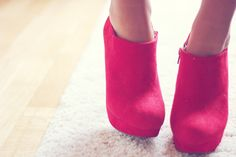 red pink heels shoes girl fashion