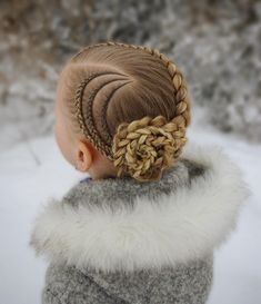 Updo with cornrows and a dutch braid into a braided flower ? The style is inspired by . Box Braids Hairstyles, Kids Braided Hairstyles, Little Girl Hairstyles, Braided Updo, Trendy Hairstyles, Childrens Hairstyles, Hairstyles Videos, Wedding Hairstyles, Hair Plaits