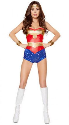 Roma Womens Mighty Superhero Vixen Costume Sexy Costume Complete Outfit Red/blue/gold Regular