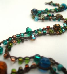 Long Necklace 5X Wrap Bracelet  Teal Copper Green by LoveFuzz, $25.00