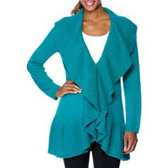 Miss Tina Women's Ruffle Sweater Cardigan