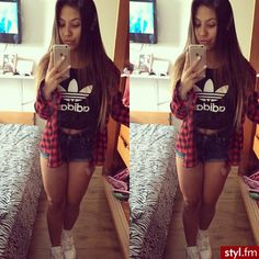 Sporty outfit. Cute outfit. Teen fashion. Adidas shirt. Plaid flannel and high waisted shorts