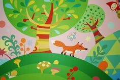 Gorgeous illustrations for children's interiors by Masha Manun. Adore the vibrant colours and flowing shapes.