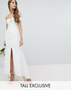 aad24a887 Jarlo Tall Bardot Maxi Dress With Thigh Split And Train Detail