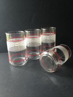 vintage juice glasses, red white striped tumblers, retro drinking glasses, vintage housewares kitchenware, red white bar accessories barware - pinned by pin4etsy.com