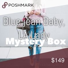 "Blue Jean Baby, LA Lady MYSTERY BOX The Jean box you""ll need for your fall outfits! Please tell me if you prefer bootcut, skinny , straight ,boyfriend etc or just mix it up.  Brands might include: 7FAM , citizens , AG , anthro , JBRAND, Mother , Rag&bone , Teaspoon and so many good ones! This is a mystery box so no requests on choice of color or designs. You will get 4-5 pair of jeans. Citizens of Humanity Jeans Boyfriend"