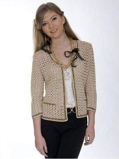 Elegant ladies jacket in style Chanel Beige jacket crochet / custom by AnnieCrochetFashion on Etsy Gilet Crochet, Crochet Coat, Crochet Cardigan Pattern, Crochet Jacket, Crochet Blouse, Crochet Clothes, Crochet Patterns, Crochet Fashion, Diy Fashion