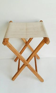 vintage folding canvas chair camp stool wood stand glamping folding stool farmhouse cottage chic