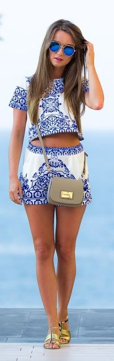 Styloly Embroidered Shorts Summe Set