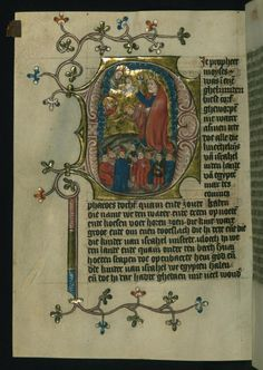 A manuscript depicting Moses receiving the Ten Commandments. ca. 1400-1404 (The Walters)