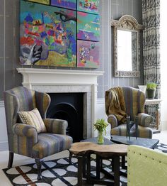 Wool House, London. I like the colorful, textural painting among formal neutrals.