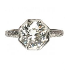 Jolie is a spectacular vintage-inspired engagement ring featuring a 1.92ct Old European Cut diamond in an octagonal dome setting. TrumpetandHorn.com // $18,500