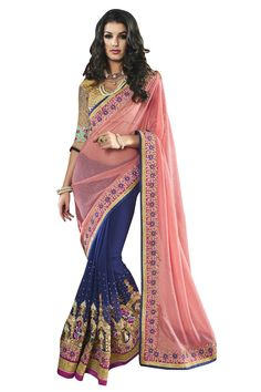 Buy Now Pink-Blue Fancy Embroidery Georgette Net Half-Half Wedding Wear Saree only at Lalgulal.com Price :- 3,672/- inr. To Order :- http://goo.gl/hMmf3D COD & Free Shipping Available only in India