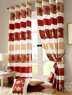 Red Kitchen Curtains Stylishly Lovely Elegant Beautiful Red and Gold Curtains with A Lovely Floral Red Curtains Living Room, Red Kitchen Curtains, Curtains Uk, Ready Made Eyelet Curtains, Living Room Red, Striped Curtains, Lined Curtains, Cream Curtains, Design Salon