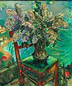 Still life with lilacs by the sea - David Burliuk
