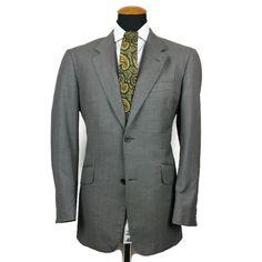Men s TM Lewin Super 110 s Wool Blazer 41R Slim Grey Sport Coat Jacket Sharkskin