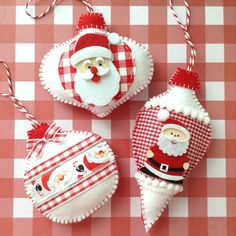 Christmas Santa Claus Ornaments / Xmas Felt Santa di CraftsbyBeba