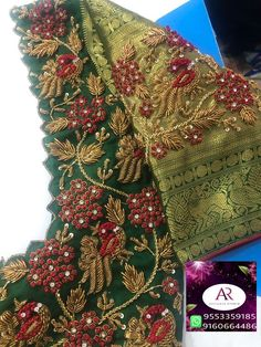 All Ethnic Customization with Hand Embroidery & beautiful Zardosi Art by Expert & Experienced Artist That reflect in Blouse , Lehenga & Sarees Designer creativity that will sunshine You & your Party Worldwide Delivery. Wedding Saree Blouse Designs, Saree Blouse Neck Designs, Fancy Blouse Designs, Dress Designs, Maggam Work Designs, Hand Work Blouse Design, Designer Blouse Patterns, Diana, Maggam Works