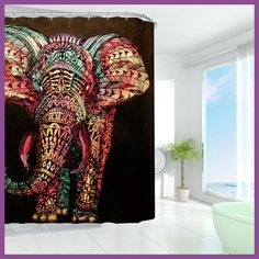 High Quality Creative Colorful Elephant Waterproof Polyester Shower Curtains Bath Bathing Sheer Curtain Home Decorations