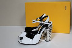 New-sz-6-5-36-5-Fendi-Ankle-strap-sandal-Peep-toe-Pump-Sandal-Stud-Heel-Shoes