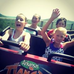 """My husband captured this priceless image """"live"""" on the Arkansas Twister at Magic Springs.  The kids rode it over and over that day.  My head can't handle wooden roller coasters anymore!"""