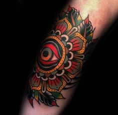 Eye With Flower Guys Traditional Elbow Old School Tattoos
