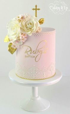 Baptism cake in soft pink and gold