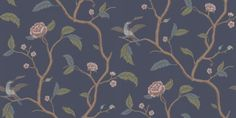 Marianne Blue (401-86) - Sandberg Wallpapers - A delicate, airy, floral trailing tree design with birds, inspired by classic 18th century designs. Shown in the green with pink flowers on deep blue. Non-woven paste the wall product. Please request a sample for true colour match.