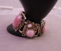 Unique Gold Tone Bracelet with Pink Mottled Glass Stones 1950-60s by thejeweledbear on Etsy