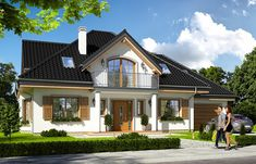 This delightful project is reduced compared to its basic version, with a single garage and with additional premises on the ground floor. There are apartment for seniors or adult children and office space as. Modern Bungalow House, Modern Cottage, Style At Home, Pool Houses, Ground Floor, Home Fashion, Home Builders, My House, Architecture Design