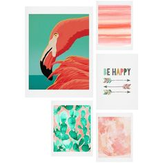 Deny Designs Tropical Flamingo Five-Piece Gallery Wall Art Print Set (385 RON) ❤ liked on Polyvore featuring home, home decor, wall art, fillers, art, decor, backgrounds, coral and green, arrow home decor and deny designs home accessories