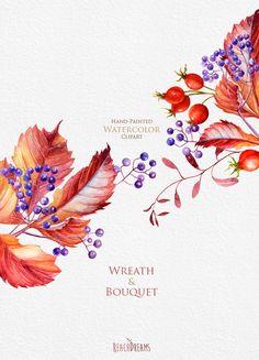 Watercolor Wreaths, Bouquets, Autumn clipart, fall leaves, foliage, leaf, briar…