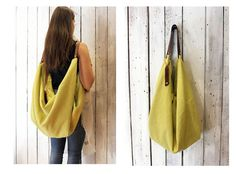 "Large Handmade Italian Canvas & Leather backpackTote ""City"".L:57/H:25cm. Anses:55cm"