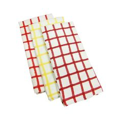 A large check pattern lends these dish towels a graphic look. | $13