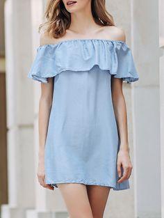 Short Sleeve Off The Shoulder Solid Color Dress