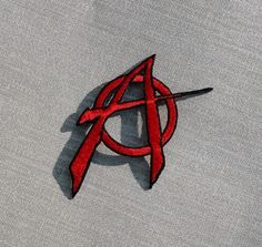 Red Anarchy Symbol Embroidered Patch Applique by GothicChameleon