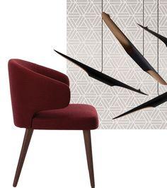 Beautiful classy colors, go perfect together. Minotti chair, Delightfull lamp and Dedar Milano wallpaper.