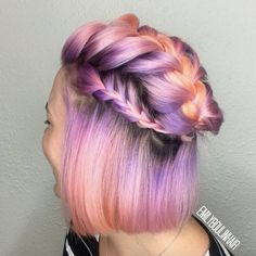 Pastel neon half-up braids by Emily Boulin