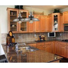 Granite Kitchen, New Kitchen, Kitchen Decor, Kitchen Tile Backsplash With Oak, Kitchen Interior, Light Granite Countertops, Kitchen Bars, Bronze Kitchen, Backsplash Ideas