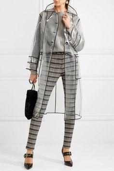 Miu Miu - Trench-coat en PVC à finitions en gros-grain Raincoat Outfit, Blue Raincoat, Raincoat Jacket, Rain Jacket, Stylish Raincoats, Raincoats For Women, Miu Miu Clutch, Rain Fashion, Fashion Photo