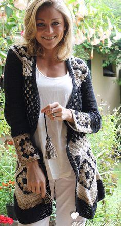 Crochet granny square sweater