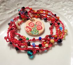 Crochet and clay boho necklace red caravan of colours by dzinebug