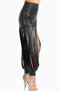 laser cut leather necklace | Home > Vertical Laser Cut Leather Pants - Black